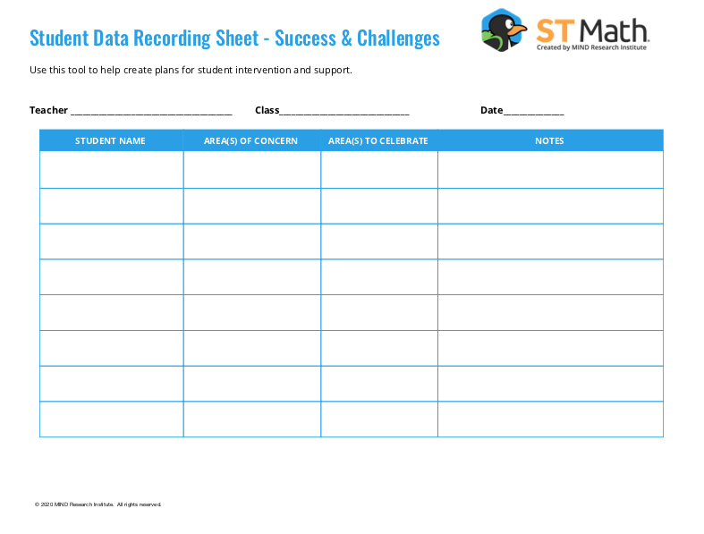 Student Data Recording Sheet