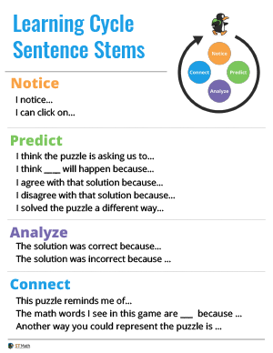 Learning Cycle Sentence Stems